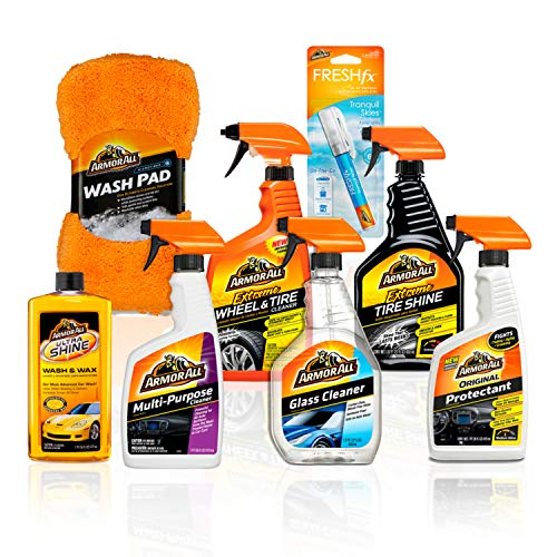 Armor All Premier Car Care Kit (8 Items) – 3pc Ultra Wax & Wash Kit, 3pc Interior, Glass Cleaner & Air Freshener and 2pc…