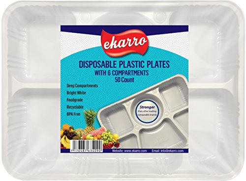 Quality Disposable Plastic Plates With 6 Compartments By Ekarro - Pack of 50 Pieces