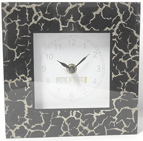 - 5th Avenue Collection Mirror Wall or Stand Alone Decorative Clock Black with Gold Accents