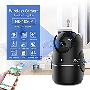 1080P Smart IP Camera, Wireless Security Camera for Home Baby Monitor System with Remote Controlling AC, APP 24H Customer Service, Motion Alarm, Night Vision Camera for Elder / Pet with IOS, Android by ODOOR