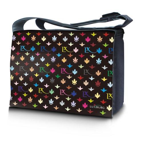 Luxburg® Design bolso bandolera de mensajero, de escuela bolso para portátil ordenadores Laptop Notebook 17,3 pulgadas, motivo: Erizo multicolor LX Negro