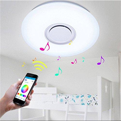 HKHJN Montage Couleuré de lampe de plafond de bÂti affleurant moderne de la musique 24W LED avec le haut-parleur de bleutooth AC110V HKHJN