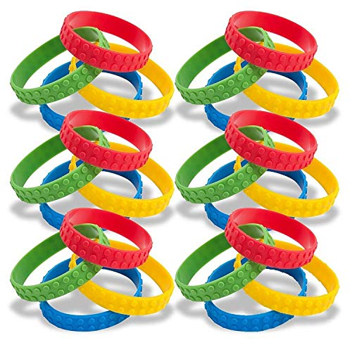 (48 Building Block Silicone Bracelets for Birthday Party Favors Kids Goody Bag Supplies for Boys and Girls Carnival Ninjago Novelty Rubber Wristbands)