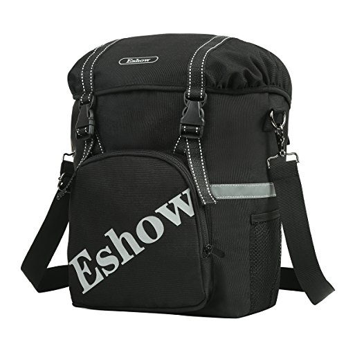 Eshow Bike Pannier Bag Waterproof Pannier for Bicycle Bike Rear Rack Bag Cycling Bag with Reflective Trim and Logo Adjustable Hooks and Removable Shoulder Strap