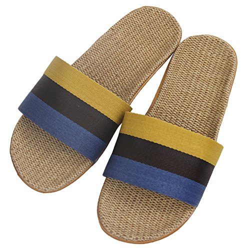 Comfort Skidproof Yellow Indoor Slippers Home Stripe Blue Black Slipper Open House Toes Men's Shoes qZgEAY