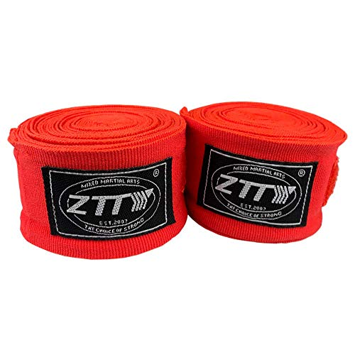 ZTTY Handwraps for Boxing Gloves Kickboxing Muay Thai MMA with Elastic Cotton (Pair) (Red, 180 inches)