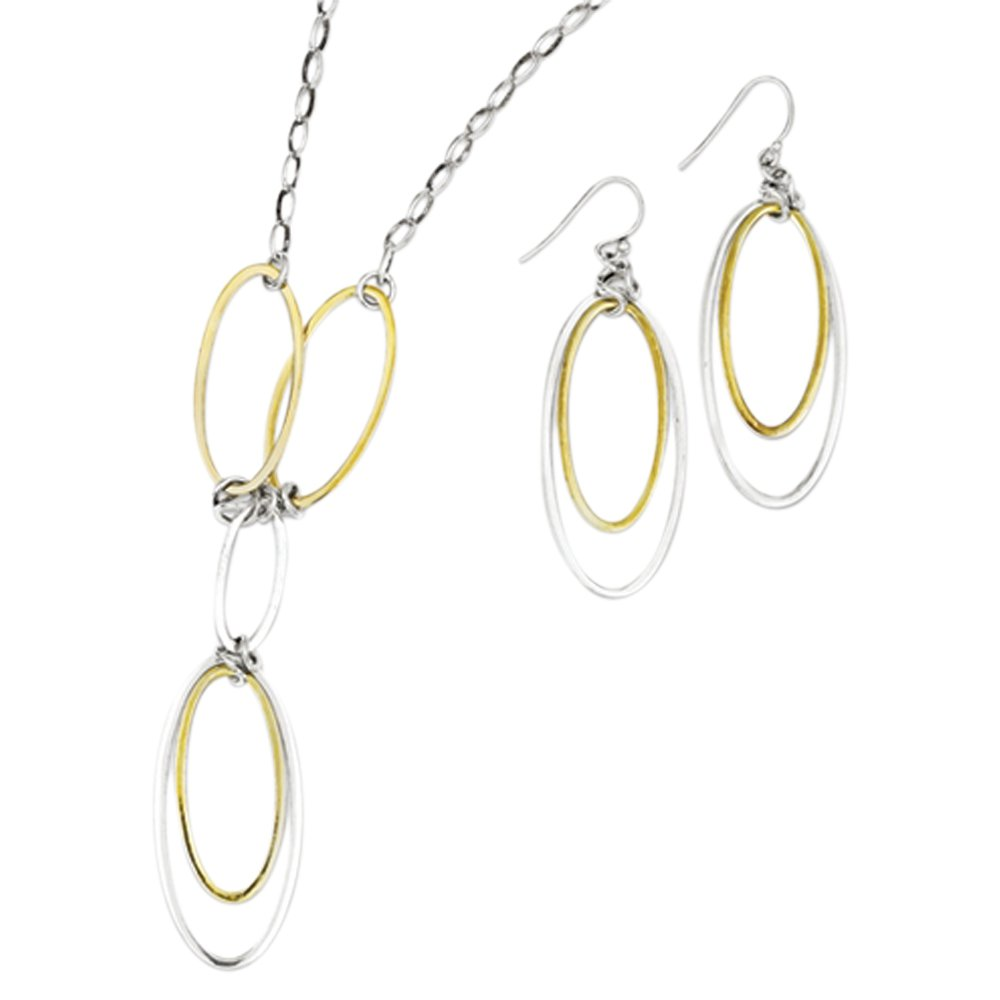 Sterling Silver /& Vermeil Polished Drop Necklace /& Earring Set
