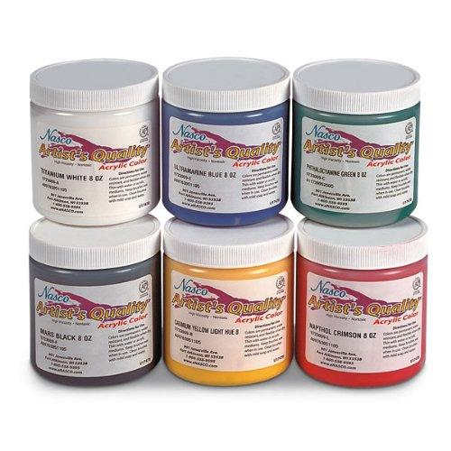 Nasco 6 Piece Professional Acrylic Paint Set, 8 oz Jars, Grades (Matte Finish 8 Oz Jar)