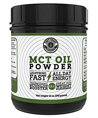 MCT Oil Powder from Coconuts, No Fillers. Creamy and Blends Easily, Great as a coffee creamer, weight loss and pre-workout. Left Coast Performance. 12 oz