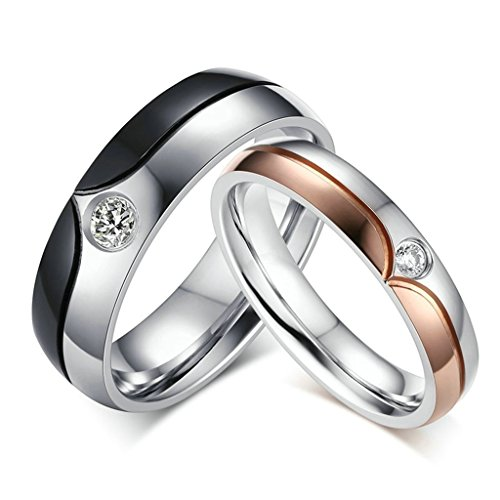 Daesar Mens Wedding Bands Stainless Steel Ring for Couples Cubic Zirconia Rings CZ With Gift Box Size 11 (Tibet Old Inlay)
