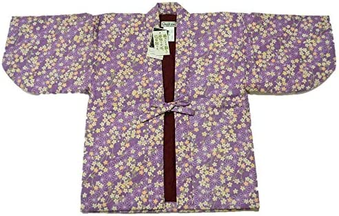 浜松織物 職人手作り 上質 暖かい 半纏 半天 子供用 日本製 綿 120サイズ 男の子 女の子 用 hanten-015 (女の子 紫)