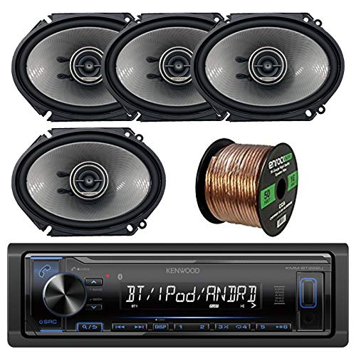 Kenwood Single DIN Bluetooth in-Dash AM/FM Car Stereo Receiver Bundle Combo with 4X KFCD681C 6x8 750W Audio Coaxial Speakers, Enrock 50 ft Speaker Wire