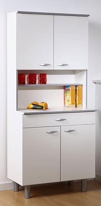 Vorratsschrank küche weiß  Küchenschrank Isabell 11 80x180x44 cm weiß grau Buffet Schrank ...