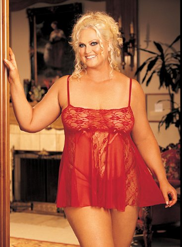 Stretch Lace, and Sheer Net and Lace Panels Baby Doll ~ Queen Size