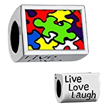 Autism Puzzle Jigsaw Charm Heart Silver Plated Photo Bead For Bracelet