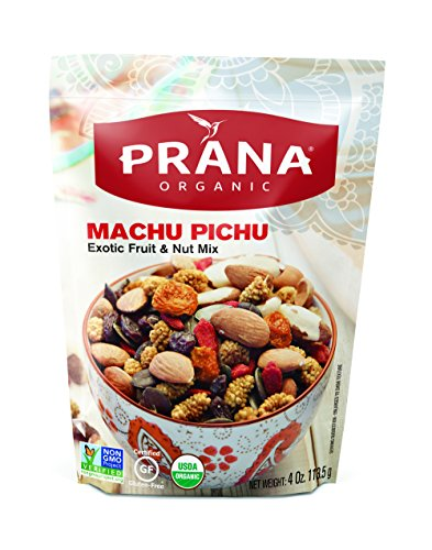 (PRANA Machu Pichu Organic Trail Mix - Deluxe Fruit and Nut Mix with Almonds, Raisins, Pumpkin Seeds, Mulberries, Brazil Nuts, and Goji Berries - Vegan, Non-GMO, 8 Count 4 Oz Bags)
