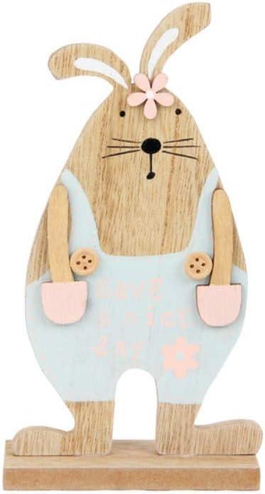 Ohhome Pascua Pajarita de Madera Decoración de Conejo Forma de Honda Linda Artesanías de Conejo de Madera Pajarita Conejo Animal Estatuilla Mascota Regalo de Pascua