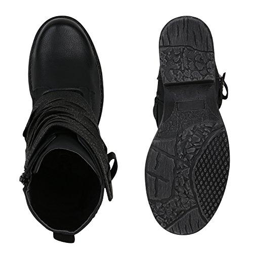 Stiefelparadies Damen Stiefeletten Biker Boots Leicht Gefütterte Stiefel Bikerstiefel Schnallen Leder-Optik Schuhe Nieten Booties Flandell Schwarz Kroko