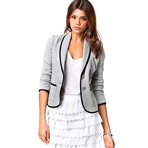 Orangesky Women Slim Single Button Blazer Short Turndown Collar Jacket Coat (S) (Women Korean Coats)