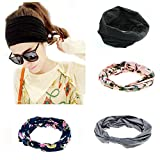 Ever Fairy 4 Pack Women's Elastic Adjustable Turban Headwrap Knotted Soft Twisted Headband (4 Color Pack(Blue+Pink+Grey+Black))
