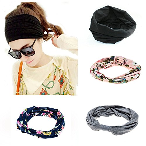 Ever Fairy 4 Pack Women's Elastic Adjustable Turban Headwrap Knotted Soft Twisted Headband (4 Color Pack(Blue+Pink+Grey+Black)) ()