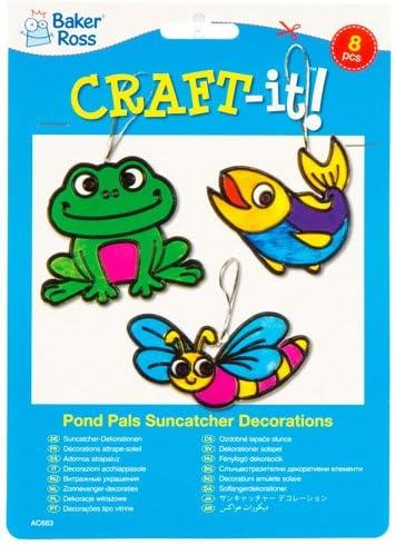 Kit Acchiappasole Decorativi a Forma di Animali dello Stagno per Bambini da Dipingere e Appendere alla Finestra Set di Creazioni Primaverili Fai da Te per Bambini Confezione da 8