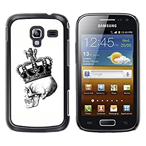Paccase / SLIM PC / Aliminium Casa Carcasa Funda Case Cover - Crown Skull White Black Bling King - Samsung Galaxy Ace 2 I8160 Ace II X S7560M