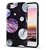 """iPhone 8 iPhone 7 Case Cute Golden Floral Galaxy Pattern Dual Layer Black Soft TPU Hard PC Back Cover Shockproof Protective Fun Phone Cases for Women Girls Men Boys[4.7""""]"""