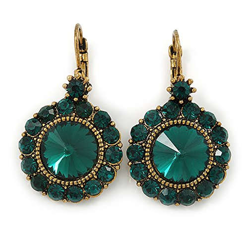 Vintage Inspired Round Cut Emerald Green Glass Stone Drop Earrings With Leverback Closure In Antique Gold Metal - 40mm L gnsREy2H