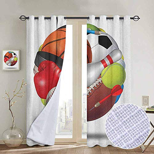 NUOMANAN Kitchen Curtains Sports,Soccer Ball Combined with Other Sports Equipment Universal Hockey Darts Boxing Fun, Multicolor,Rod Pocket Drapes Thermal Insulated Panels Home décor ()