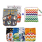 Baby Nappy Bamboo Charcoal Cloth AIO Diapers, Sewn in Insert Double Gussets