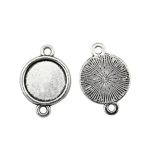 NEWME 60Pcs 12mm Round Inner Size Antique Silver Planted Classic Connector Single Side Double Hanging Cabochon Settings Blank Pendant Base Trays Diy Jewelry BezelsÂ