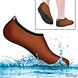 extra comfort shoes - Water Socks for Women - Extra Comfort - Protects Against Sand, Cold/Hot Water, UV, Rocks/Pebbles - Easy Fit Footwear for Swimming (Brown & Black, (S) Women - 5-7)
