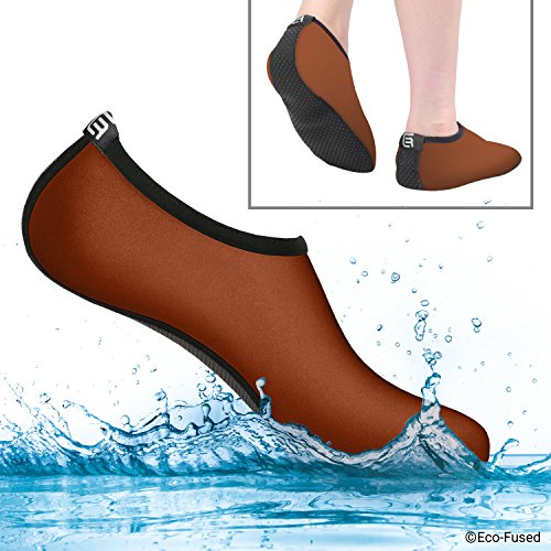 Water Socks for Women - Extra Comfort - Protects Against Sand, Cold/Hot Water, UV, Rocks/Pebbles - Easy Fit Footwear for Swimming Brown & Black