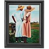 African American Sisters By Fence On Farm Wall Picture Framed Art Print