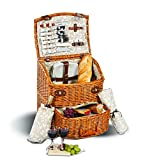 Picnic Plus Exeter Deluxe 4 Person Picnic Basket On Wheels With Large Insulated Cooler, Top Of The Line Components