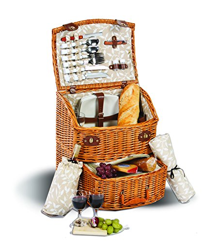 Picnic Plus Exeter Deluxe 4 Person Picnic Basket On Wheels With Large Insulated Cooler, Top Of The Line Components by Picnic Plus