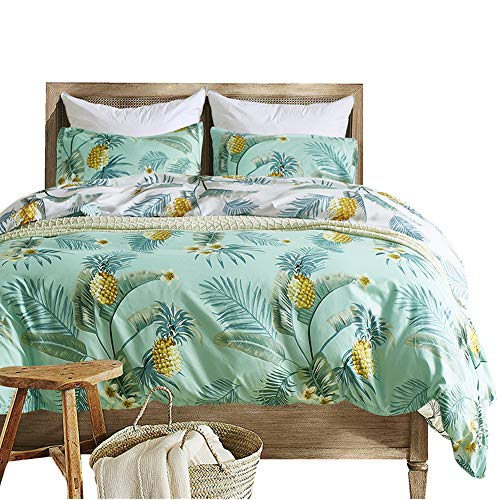 Pineapple Bedding Set Palm Leaf Duvet Cover Set Queen, Decorative Tropical Botanical Bedding Set with Zipper & Ties, 1 Microfiber Duvet Cover & 2 Envelope Pillowcases