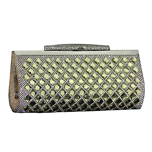 Evening with Shiny Adjustable Crystal Bag Ladies Bag Strap Clutch Party Yellow Stylish wnCSqxBX