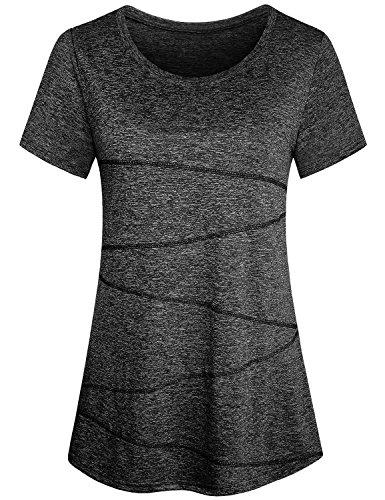 Uniboutique Womens Short Sleeve Yoga Shirts Activewear Running Workout Tops Black XL