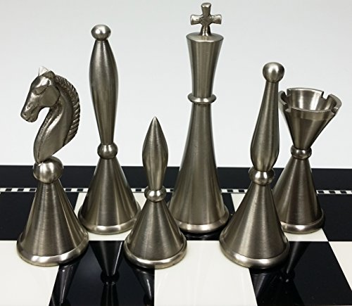 Copper Chess (HPL Brass Metal Modern Art Deco Staunton Chess Men Set in Antique Copper and Nickel Finish- NO Board)