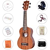 ADM Mahogany Ukulele Soprano Solid Wood 21 Inch Hawaiian Ukelele, Beginner Ukulele Pack with Teaching CD, Ukulele Strap, Tuner, etc