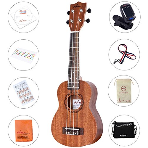 ADM Student Mahogany Soprano Ukulele Starter Pack, 21 Inch Beginner Kit with CD Lesson, Carry Bag, Tuner and Strap, Brown for $<!--$40.99-->
