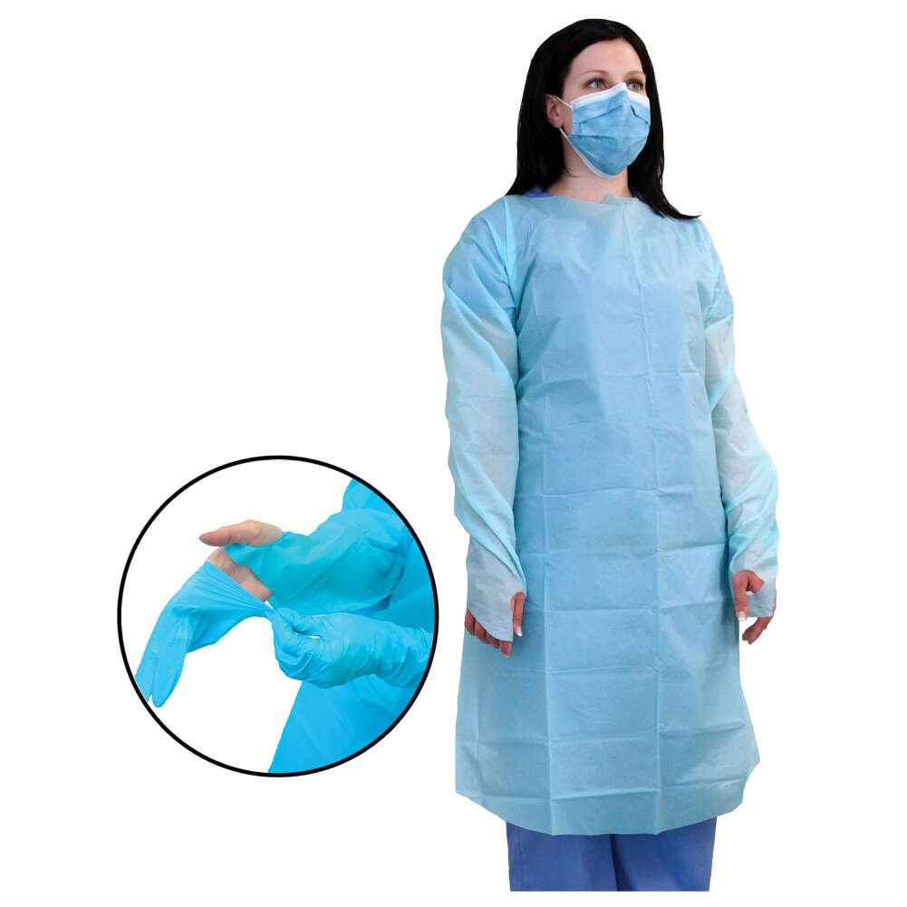 MediChoice Protective Gowns, Open Back, With Thumb Loop Cuff, Polyethylene, Universal, Blue (Box of 15)