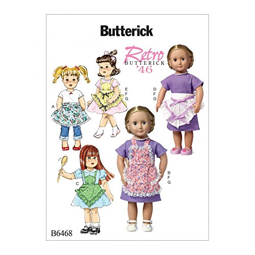 Butterick Crafts Easy Sewing Pattern 6468 1946 Vintage Style Doll Clothes