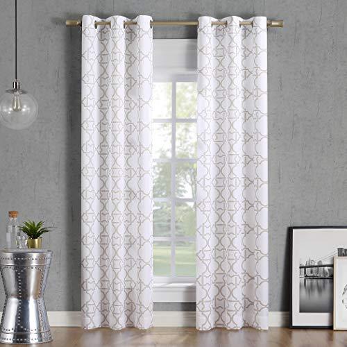 No. 918 Barkley Trellis Semi-Sheer Grommet Curtain Panel, 40