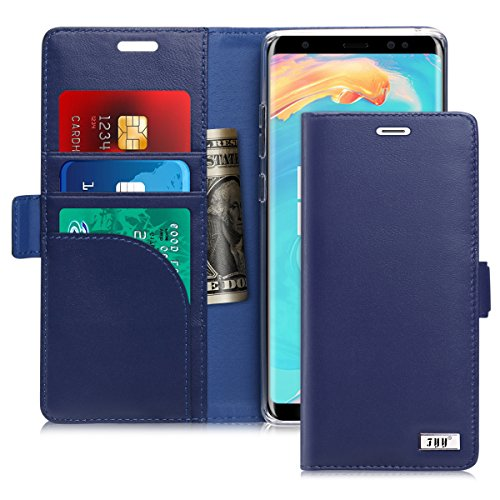 FYY [Genuine Leather] Wallet Case for Samsung Galaxy Note 8 2017, Handmade Flip Folio Wallet Case with Kickstand Card Slots Magnetic Closure for Samsung Galaxy Note 8 2017 Navy Blue