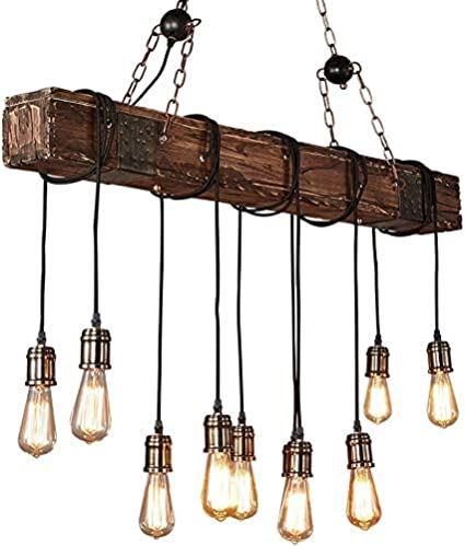 Maheegu Lámpara del Dormitorio Retro Retro Colgantes para lámparas de Techo Que Viven habitación y Vigas de Madera reciclados industriales,Brown