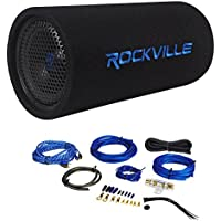 Package: Rockville RTB80A 8 400 Watt Peak/200 Watt RMS Enclosed Vented Powered Car Bass Tube Subwoofer + Rockville RWK81 8 Gauge 2 Channel Complete Wire Kit With RCA Cable