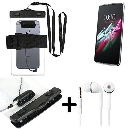 Estuche estanco al agua con entrada de auriculares para Alcatel One Touch Idol 3 5,5 Zoll + auricular incluido, transparente   Trotar bolsa de playa al aire libre caja brazalete del teléfono caso de c